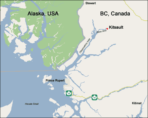 Kitsault Map: Photo credit Kitsault