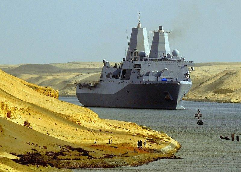 File US Warship in Suez Canal: Photo credit USN