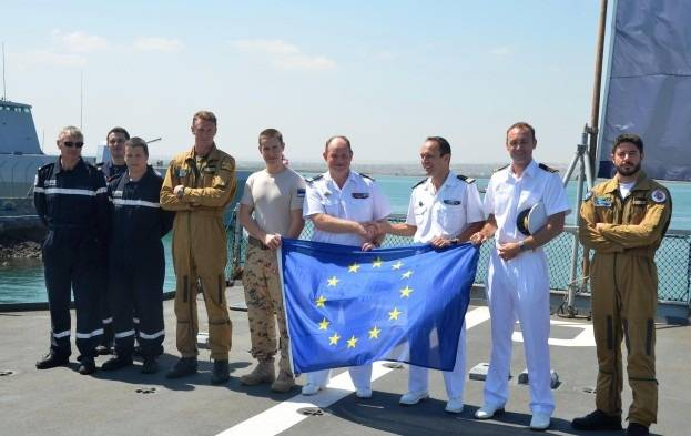 File Courbet/Surcouf Handover Ceremony: Photo credit EU NAVFOR