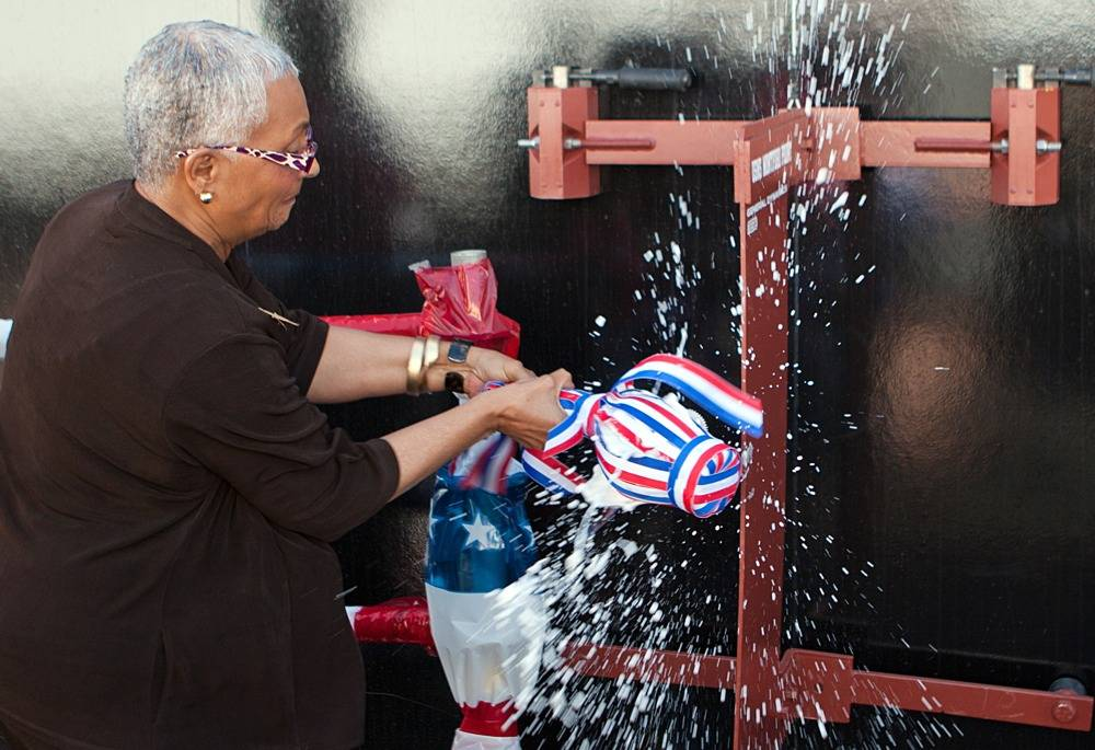 "USS Montford Point Christening by Alexis ""Jackie"" Bolden: Photo credit USN"