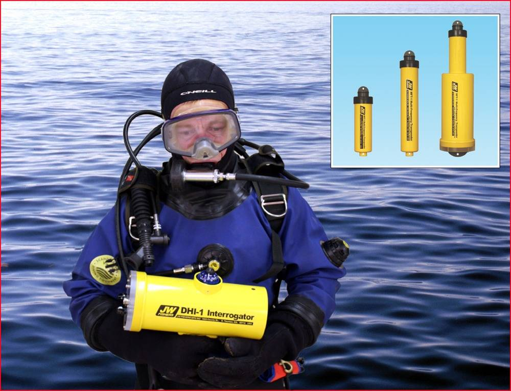 Diver with Interrogator, Inset Transponders: Image credit JW Fishers