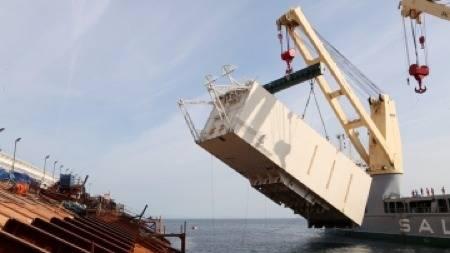 Costa Concordia 1st Sponson: Photo credit Parbuckling Project