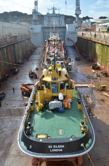 RFA Mounts Bay & HMS Severn in Drydock: Photo credit A&P Shipyards