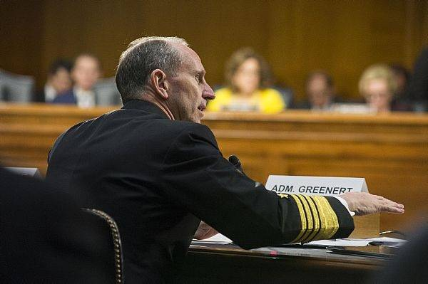 Chief of Naval Operations (CNO) Adm. Jonathan Greenert testifies before the Senate Armed Services Committee on the Department of the Navy defense authorization request for fiscal year 2014. (U.S. Navy photo by Mass Communication Specialist 1st Class Peter D. Lawlor/Released)