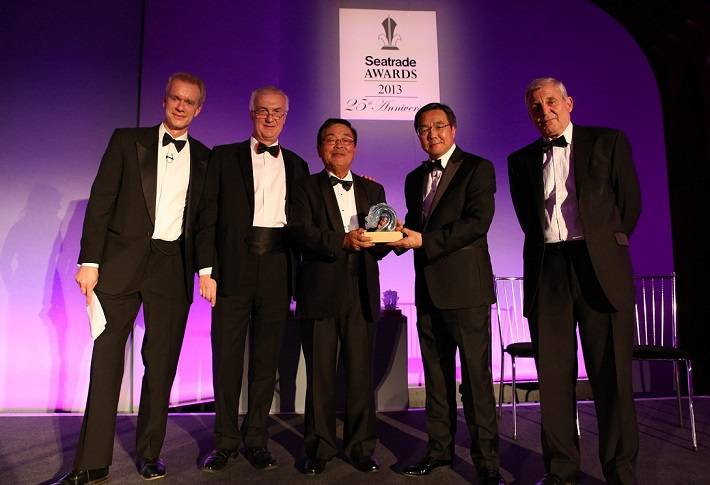Noboru Ueda Receiving Safety At Sea Award. Photo: ClassNK