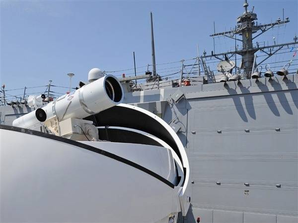 Prototype Laser Weapon on US Warship: Photo credit USN