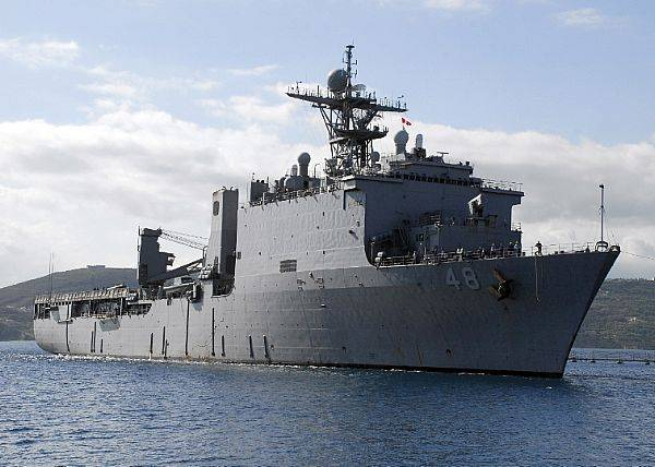 File The Whidbey Island-class dock landing ship USS Ashland (LSD 48) arrives at the Marathi NATO Pier Facility for a routine port visit. Ashland is homeported at Navy Amphibious Base Little Creek, Va. and is deployed supporting maritime security operations. U.S. Navy photo by Paul Farley