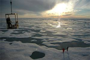 File NOAA photo: Ice and open water in the Beaufort Sea north of Alaska.