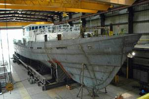 Production on the first Sentinel Class cutter, Bernard C. Webber, progresses at Bollinger. Photo courtesy Bollinger Shipyards, Inc.