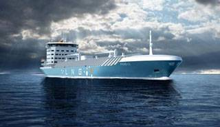 The general-cargo carrier newbuilding will be designed by FKAB in Gothenburg, Sweden and powered by MAN Diesel & Turbo's new Liquid ME-GI engine running on LPG. Pictured here is another FKAB design for an LNG feeder vessel. Image courtesy MAN Diesel & Turbo.