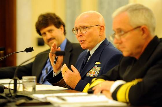 Coast Guard Commandant Adm. Bob Papp, Navy Rear Adm. David Titley and Ambassador David Balton testify before the U.S. Senate during a hearing on defending U.S. economic interests in the changing Arctic July 27. U.S. Coast Guard photo by Petty Officer 2nd Class Patrick Kelley.