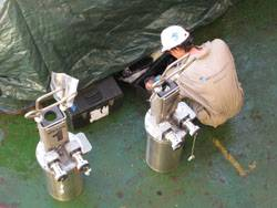 BMT Engineer prepares Free-Standing Hybrid Riser (FSHR) data acquisition modules to go subsea.