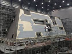 The deckhouse for DDG 1000, the first Zumwalt-class destroyer, is currently under construction at Ingalls Shipbuilding
