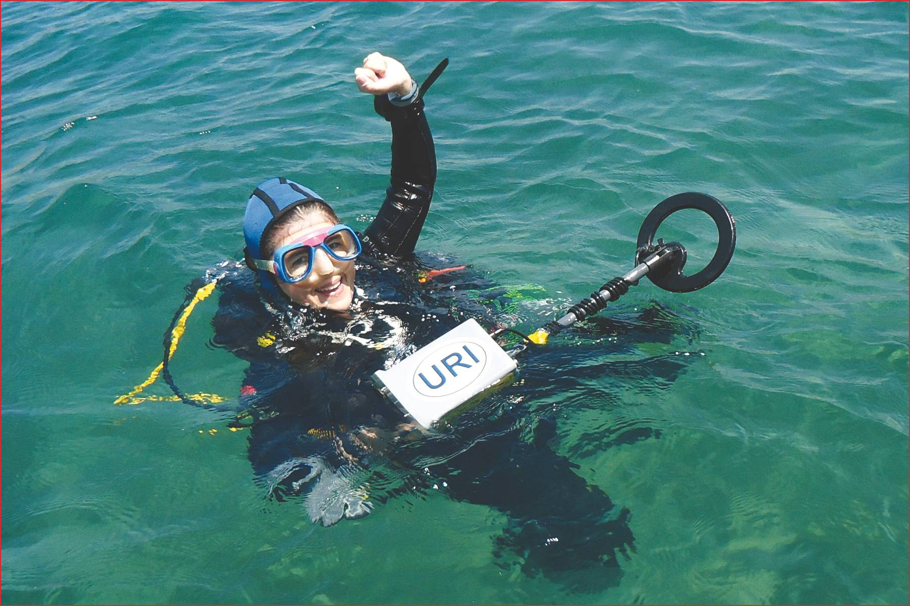 File University of Rhode Island's Dr. Bridget Buxton dives on ancient shipwrecks in Israel with the Pulse 8X metal detector.