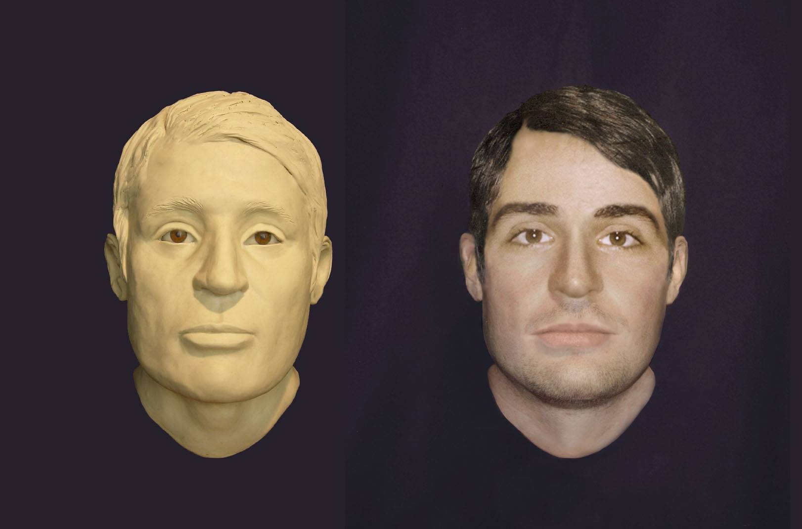 LEFT: Clay model of the face of a USS Monitor sailor whose remains were found in the gun turret in 2002. RIGHT: Computer enhanced image showing what the unknown sailor may have looked like while aboard the USS Monitor in 1862.