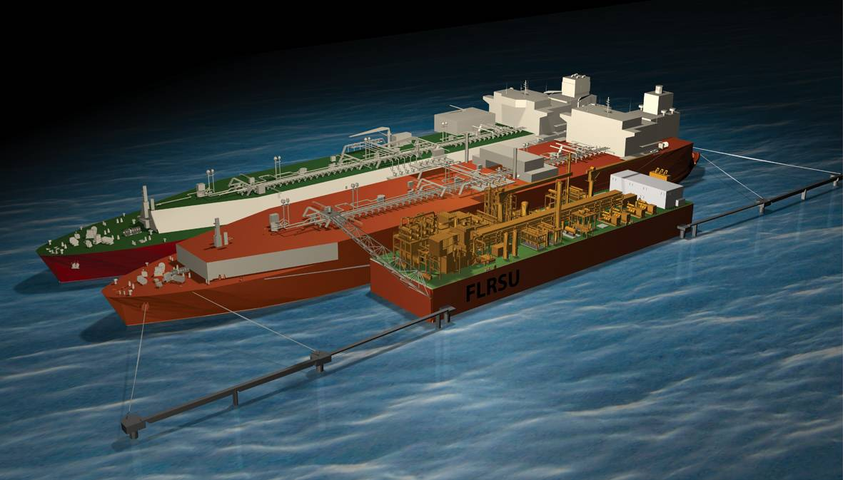 Depiction of the world's first Floating LNG Liquefaction, Regasification and Storage Unit (FLRSU)