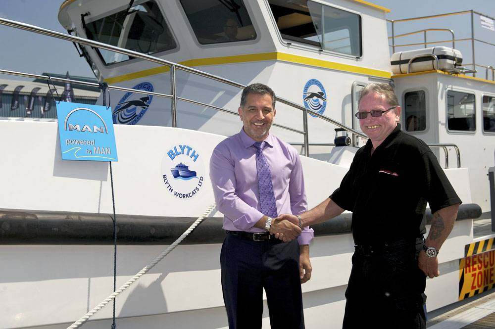 File Wildcat Marine Co-Owner Dr Omar Namor (left) Receives Their Blyth 17 From Ray Chuter, Blyth Workcats