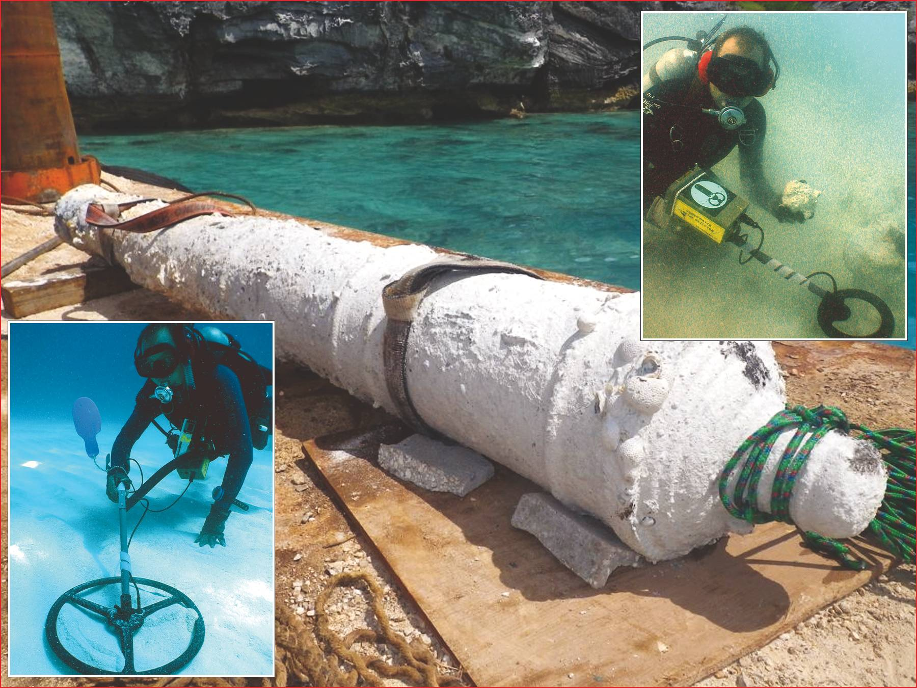 File Cannon recovered from the Warwick, Bottom inset – diver searches wreck site with the Pulse 8X's deep seeking 16 inch coil, Top inset – James Davidson with Pulse 8X and recovered cannon ball.