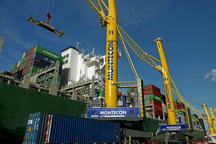 Δύο LHM 800 λειτουργούν ήδη στο λιμάνι του Μοντεβιδέο της Ουρουγουάης. (Φωτογραφία: Liebherr Maritime Γερανοί)