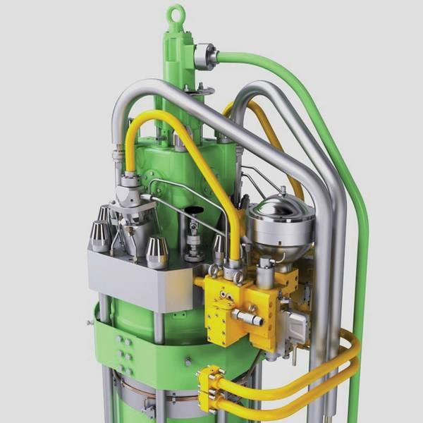 Σχεδίαση του κυλινδρικού καλύμματος ME-LGIP με βαλβίδα έγχυσης LPG και μπλοκ αερίου. Εικόνες: © MAN ES