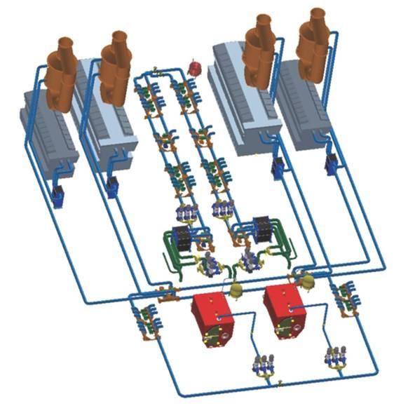 Полная система сбалансирует восстановление и потребителей в любое время. Если спрос на тепло по какой-либо причине больше, чем восстановлен от двигателей, в режиме ожидания будет задействован дизельный нагреватель, чтобы обеспечить мощность.