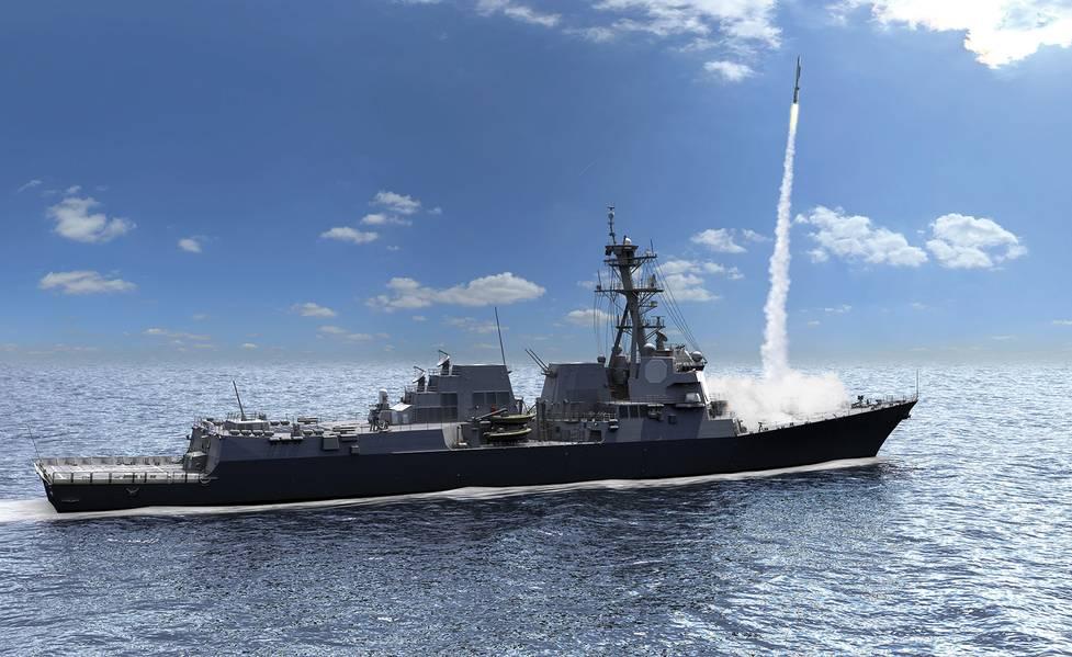 Радиолокатор воздушной и противоракетной обороны (AMDR) является ключевым фактором повышения возможностей и повышения производительности нового корабля DDG 51 Flight III. Изображение: Raytheon
