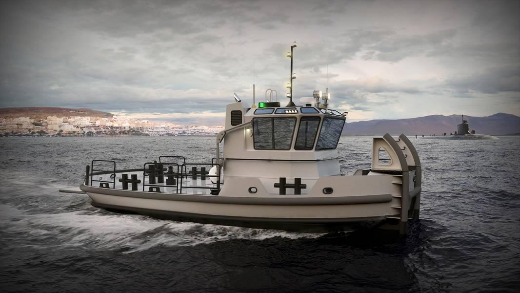Рендеринг, показывающий 40-футовый буксир (изображение любезно предоставлено ВМС США)