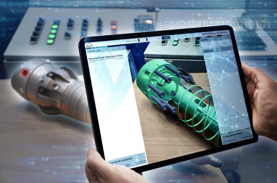 Чтобы расширить контент в реальном мире, CEON TechGuide использует пространственную информацию и информацию об окружающей среде, такой как поверхности стола, рабочие столы и стены. Анимации не привязаны к определенной перспективе, скорее пользователь может перемещать свой планшет или дисплей на голове, чтобы просматривать компоненты под разными углами, получать покомпонентные изображения запасных частей и т. Д. Изображение: MAN ES