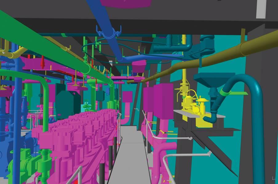 أكملت شركة نورثروب غرومان لبناء السفن تطوير مرحلة التصميم التفصيلي لجيرالد فورد (CVN 78) في نموذج المنتج ثلاثي الأبعاد. الصورة: HII / NNS