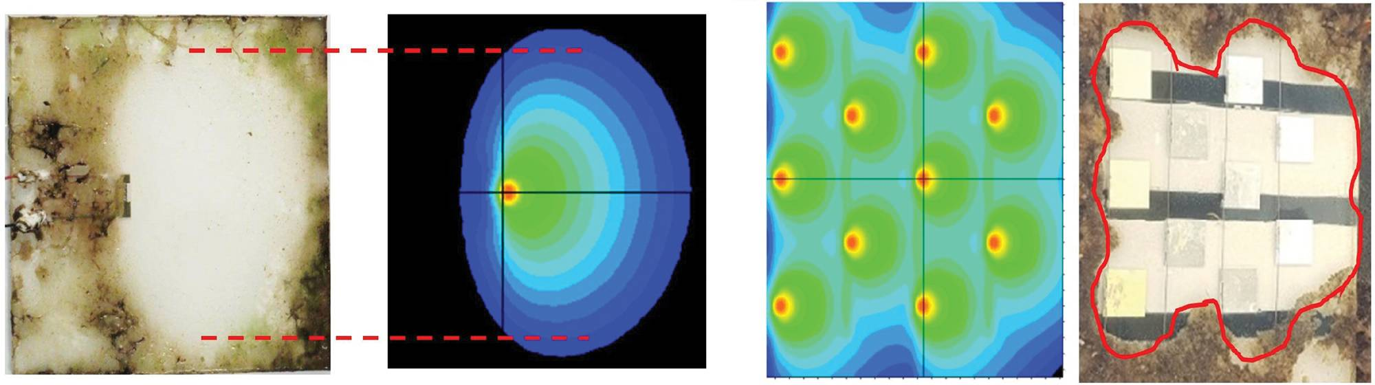 الشكل 3: مقارنة بين عمليات محاكاة نموذجية للإشعاع فوق البنفسجي عند السطح مع اختبارات موازنة حيوية مماثلة. على اليسار للحصول على لوح سيليكون مع LED واحد ، تم اختباره في حوض للماء. على اليمين للحصول على لوحة النموذج الأولي بالكامل تم اختبارها في حالة البحر. تحدد الخطوط الحمراء المواقع ذات مستوى الإشعاع 0.3mW / m2 المتوقع من المحاكاة.