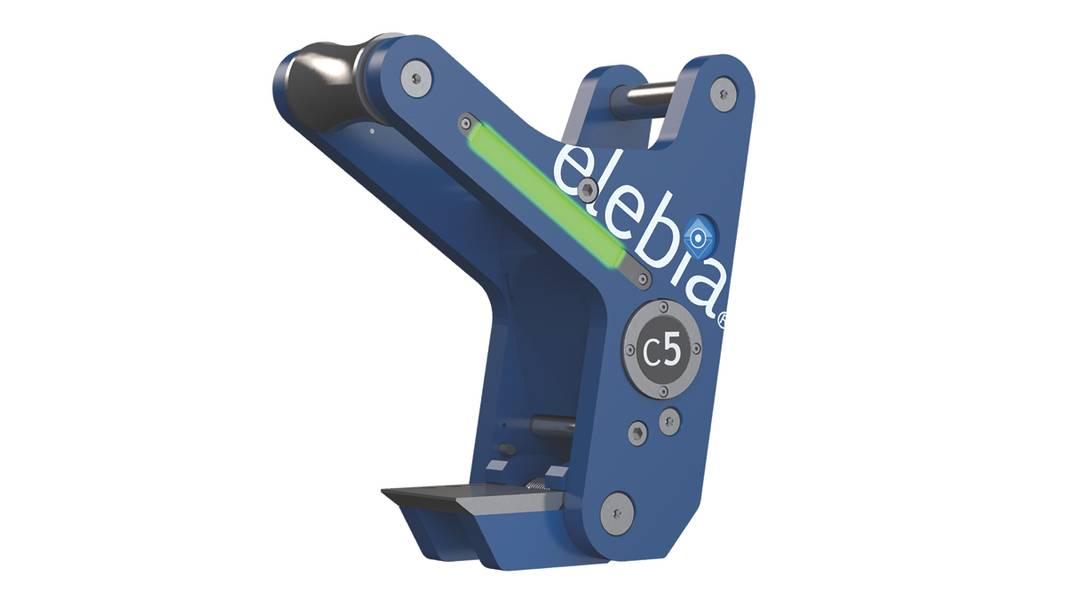 المشبك C5 التلقائي للرفع من Elebia: الرفع الآمن والآمن للألواح الفولاذية والحزم والأنابيب. (بإذن من شركة Elebia Autohooks SUL)