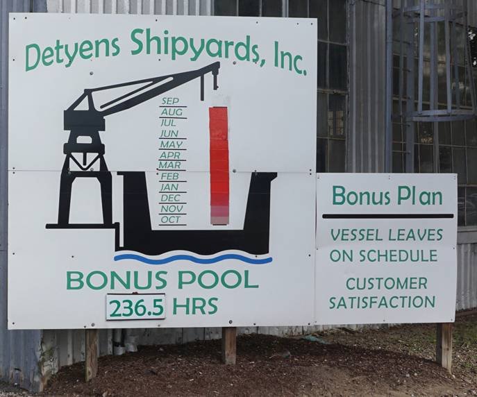 بالإضافة إلى وجبة عيد الشكر ، قام عمال أحواض السفن في ديتينز بتحصيل شيك مكافأتهم الذي يعادل حوالي ستة أسابيع من الأجر. Photo: Eric Haun