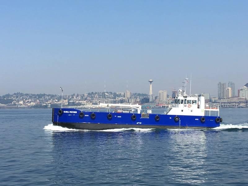 تم تسليم سفينة تزويد السفن الجديدة Global Provider لشركة Maxum Petroleum للتشغيل في شمال غرب المحيط الهادئ. (الصورة: EBDG)