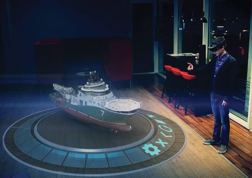 تكنولوجيا الواقع المختلط من Fostech تسمح لك بعرض ليس فقط سفينة كاملة في ثلاثية الأبعاد ، ولكن بالنقر بأصابعك ... (الصورة: Fostech AS)