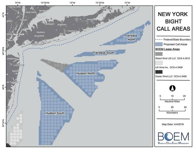 """مناطق اتصال Bight في نيويورك. """"المكالمة"""" هي عبارة عن مصطلح قصير المدى يشير إلى دعوات تقديم المقترحات أو دعوات الفائدة في المنطقة. (الصورة: BOEM)"""