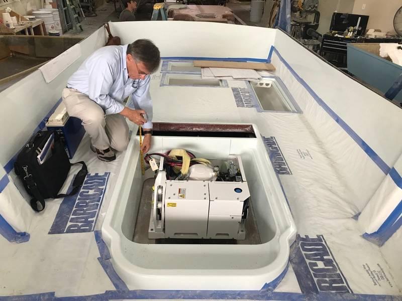 يحافظ نظام تثبيت الجيروسكوب الساقط على القوارب ثابتة في البحار الهائجة. Image Courtesy Ocean 5 Naval Architects.