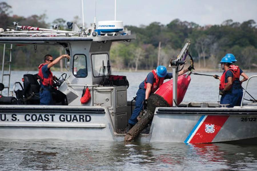 يعمل موظفو خفر السواحل المكلفون بالمساعدة في الملاحة فريق Galveston في عوامة ملاحية في نهر سان جاسينتو. صورة لخفر السواحل بقلم بتي ضابط الدرجة الثانية برنتيس دانر