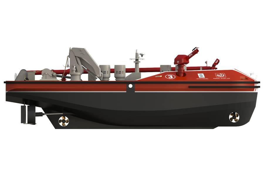 आधुनिक बंदरगाहों की विकसित सुरक्षा और सुरक्षा आवश्यकताओं को संबोधित करने के लिए, वैंकूवर आधारित नौसेना आर्किटेक्ट्स और समुद्री इंजीनियरों रॉबर्ट एलन लिमिटेड और अंतर्राष्ट्रीय समुद्री टेक्नोलॉजी विशेषज्ञ कोंग्ज़बर्ग मैरिटाइम एक नए नए दूरस्थ-संचालित फायरबोट के विकास पर सहयोग कर रहे हैं जो पहले उत्तरदाताओं को अनुमति देगा हमले खतरनाक बंदरगाह पहले से कहीं अधिक आक्रामक और सुरक्षित आग लगाते हैं। छवि: कोंग्सबर्ग / आरएएल
