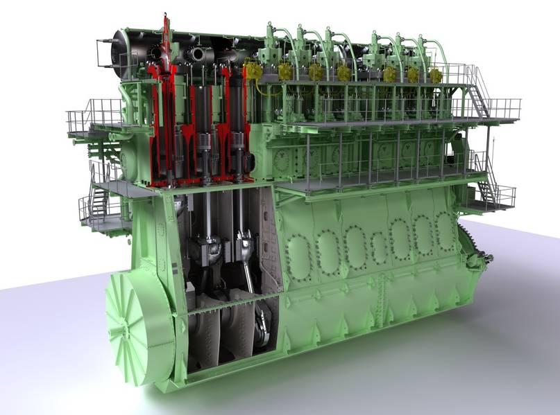 एमई-जीआई इंजन ने बाजार के परिचय के बाद से 200 या उससे अधिक ऑर्डर जीते हैं। यहां चित्रित, 9 एस 90 एमई-जीआई प्रकार (छवि सौजन्य मानव ऊर्जा समाधान)