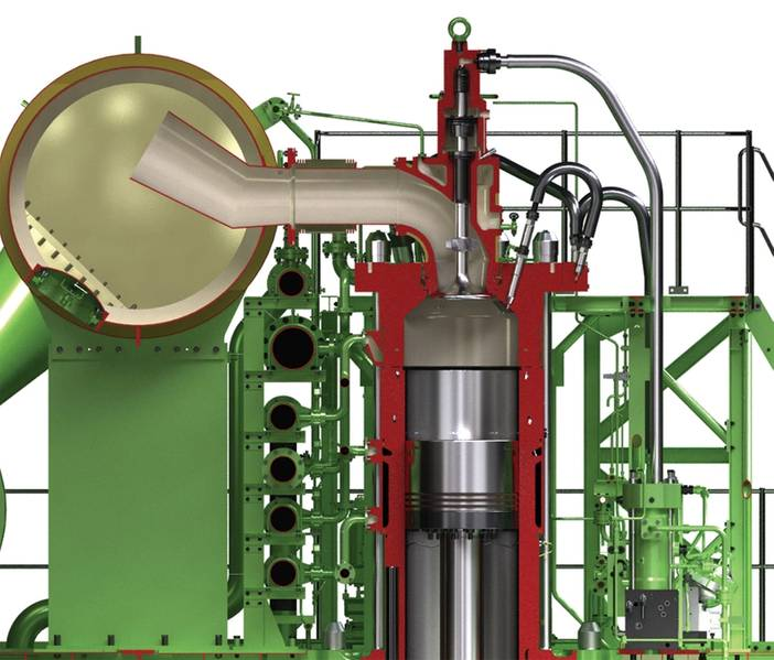 एमई-सीआई इंजेक्शन प्रणाली का अनुभागीय दृश्य। © MAN ES