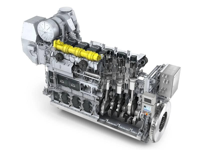 """6 एल 35/44 डीएफ """"दोहरी ईंधन 4-स्ट्रोक इंजन है, जो समुद्री ईंधन और गैस दोनों पर चलने में सक्षम है। (फोटो: मैन डीजल और टर्बो)"""