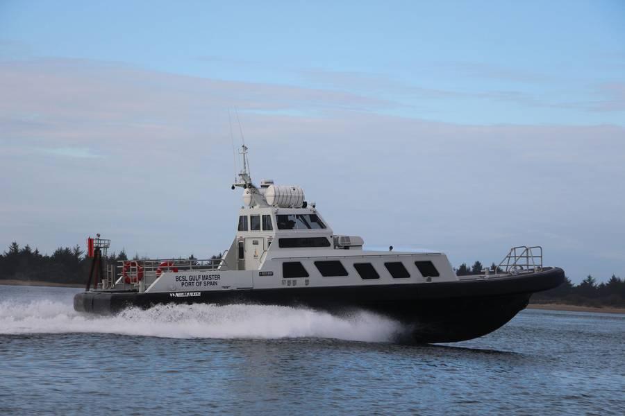 वेनेजुएला के पास शत्रुतापूर्ण पानी में चालक दल के परिवहन के लिए पायलट एसोसिएशन के लिए उत्तर नदी नौकाओं द्वारा बीसीएसएल खाड़ी मास्टर 58। बोक्सा समुद्री डिजाइन द्वारा नौसेना वास्तुकला और समुद्री इंजीनियरिंग।