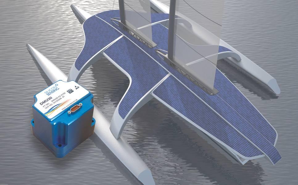 सिलिकॉन सेंसिंग डीएमयू 30: एमएएस 400 स्वायत्त जहाज के एक कलाकार की धारणा, इनसेट, नई डीएमयू 30 इनर्टियल मापन इकाई, जो 68.5 x 61.5 x 65.5 मिमी है। (फोटो शिष्टाचार सिलिकॉन सेंसिंग)