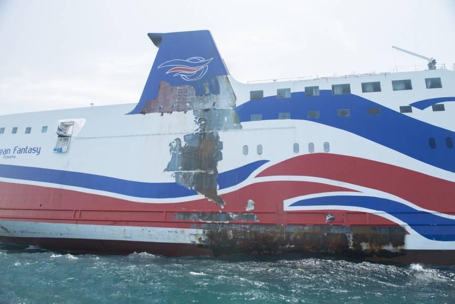 加勒比幻想搁浅约2016年8月19日蓬塔萨利纳约半英里(由Jasmine Mieszala拍摄的美国海岸警卫队照片)