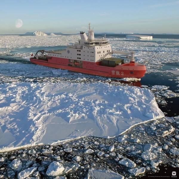 渲染中国的下一个极地破冰船。图片:Aker Arctic Technology