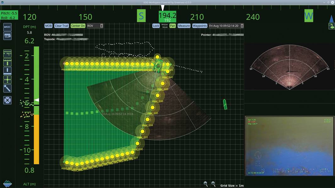 自主船体修饰机器人用户界面。照片由Greensea Systems提供