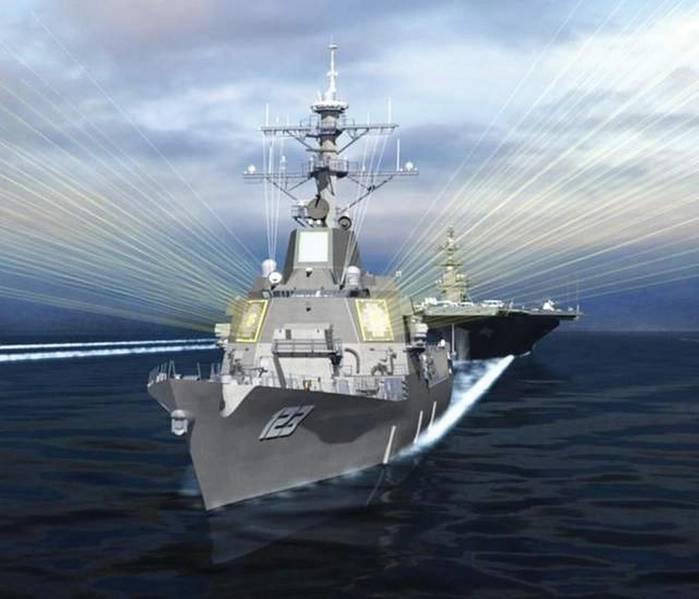 艺术家的DDG-51飞行III与空中和导弹防御雷达(AMDR)的概念。图片:雷神