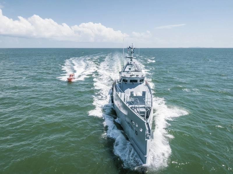 达门公司最近交付了两对FCS 3307高规格巡逻船,由尼日利亚的国土综合离岸服务公司(Homeland IOS Ltd)运营。照片:达门