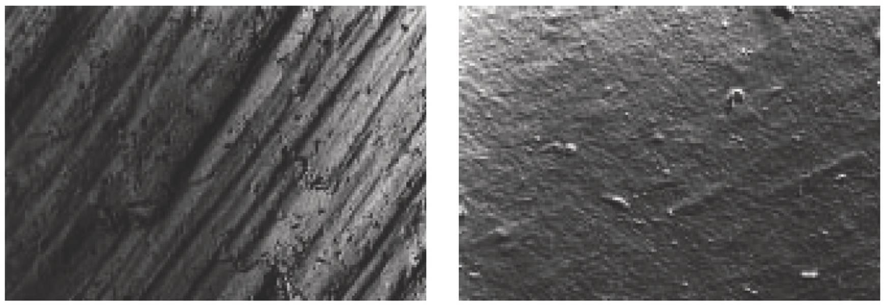 (आंकड़े 1 बी और 2 बी) एक स्कैनिंग इलेक्ट्रॉन माइक्रोस्कोप (मॉड्यूल 25 मिमी, आरटी = 44 सुक्ष्ममापी आरए = 4.3 माइक्रोग्राम / 50 गुना बढ़े हुए) के साथ एक नई पिनियन की सतह की तस्वीरें।