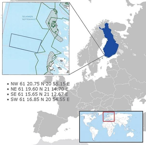 OneSea:自律型海上船舶技術用のJaakonmeriテストエリアの一般的な場所。写真提供:ワンシー。
